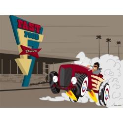 "Illustration vintage ""Go fast to fast food"""
