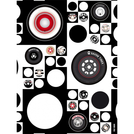Wheels wall illustration graphique en noir et blanc