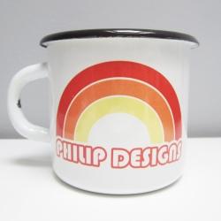 Mug émaillé 70's rainbow